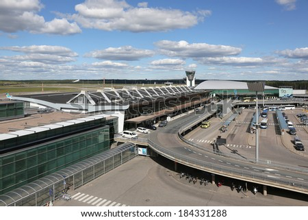 HELSINKI, Finland - AUGUST 23: Overview of Helsinki International Airport on August 23, 2013 in Helsinki, Finland. Helsinki is the busiest airport in Finland with 15.3 million passengers in 2013.