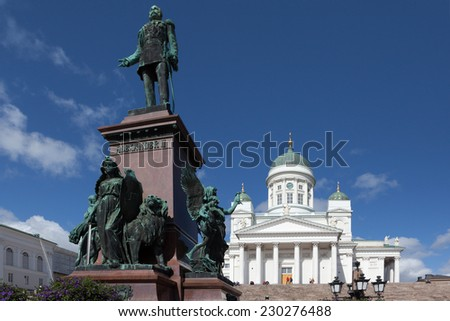 HELSINKI, FINLAND - AUGUST 21, 2014: Photo of Senate Square. Monument to Alexander II.