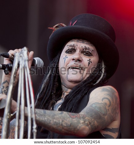 HELSINKI, FINLAND - JULY 1: American industrial metal band Ministry performs live on stage July 1, 2012 at 15th annual Tuska Open Air Metal Festival in Suvilahti, in Helsinki, Finland.