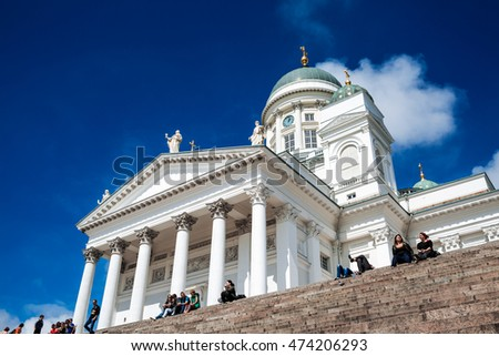 HELSINKI, FINLAND - July 11, 2016: Beautiful view of famous Helsinki Cathedral.