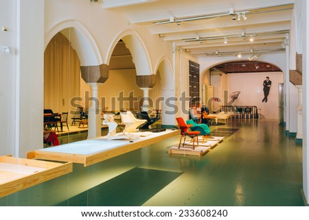 HELSINKI, FINLAND - JULY 27, 2014: Exhibition at the Finnish Design Museum (Designmuseo). Designmuseum researches, collects, stores and documents design, and displays it both in Finland.