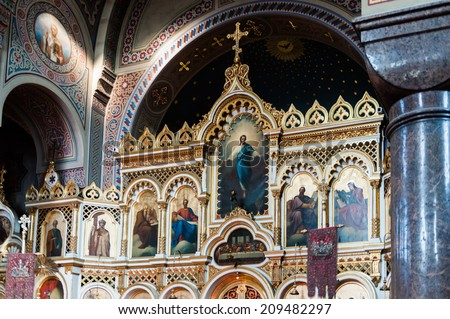 HELSINKI, FINLAND - JULY 26, 2014: Interior of the Uspenski Cathedral, an Eastern Orthodox cathedral in Helsinki, Finland, dedicated to the Dormition of the Theotokos (the Virgin Mary).