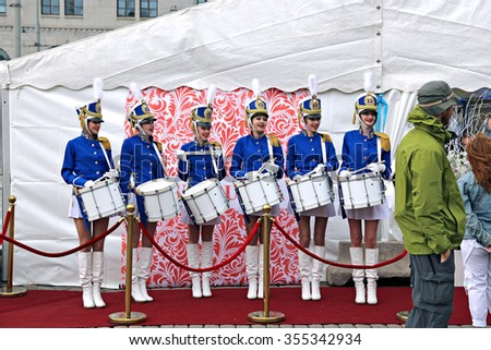 HELSINKI, FINLAND - JULY 10, 2015: The team of Russian women drummers on the Market Square at the celebration of the Day of Russia in Helsinki