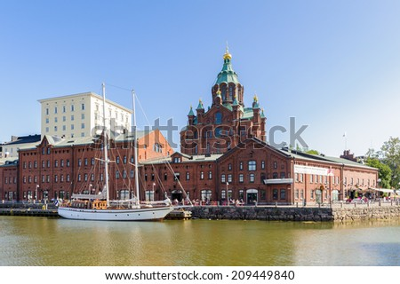 HELSINKI, FINLAND - JULY 26, 2014:  Uspensky Cathedral in  Helsinki, Finland. Helsinki was chosen to be the World Design Capital for 2012