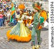 HELSINKI, FINLAND - JUNE 16: An unidentified dancers participates at the annual Samba Carnaval in Helsinki, Finland on June 16, 2012 - stock photo