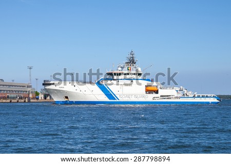 Helsinki, Finland - June 13, 2015: Finnish offshore patrol ship Turva enters the port of Helsinki. The largest vessel of the fleet, first patrol boat in the world powered by liquefied natural gas - stock photo