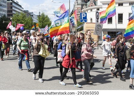 HELSINKI, FINLAND - JUNE 27, 2015: Helsinki Gay Pride Parade in 2015