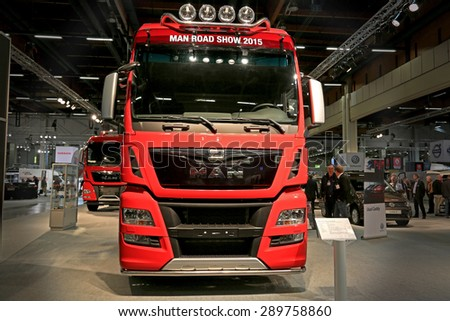 HELSINKI, FINLAND - JUNE 11, 2015: Konekesko Oy MAN presents the new MAN TGX 26.560 truck at Logistics Transport 2015. - stock photo