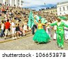 HELSINKI, FINLAND - JUNE 16: Unidentified dancers participate at the annual Samba Carnaval in Helsinki, Finland on June 16, 2012 - stock photo