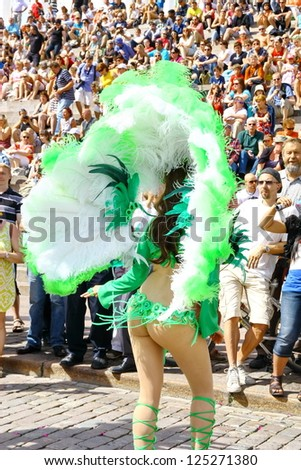HELSINKI, FINLAND - JUNE 16: Unidentified dancers participate at the annual Samba Carnaval in Helsinki, Finland on June 16, 2012