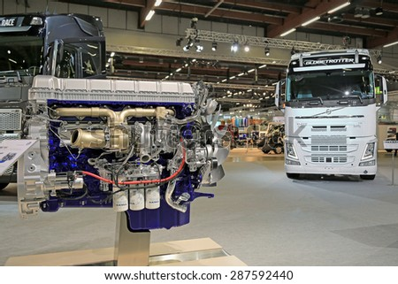 HELSINKI, FINLAND - JUNE 11, 2015:  Volvo Trucks displays the D13K540 Euro low emission diesel engine at Logistics Transport 2015. - stock photo