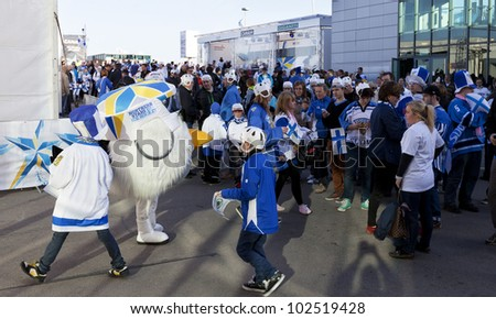 HELSINKI, FINLAND-MAY14:Ice Unidentified Hockey Fans waiting for Kazakhstan VS Finland game to start in 2012 Ice Hockey World Championship in Finland & Sweden at Hartwall Arena on May 14, 2012 in Helsinki, Finland