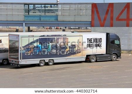 HELSINKI, FINLAND - MAY 24, 2016: Volvo FH16 750 semi displays Volvo truck range pictured on trailer.  - stock photo