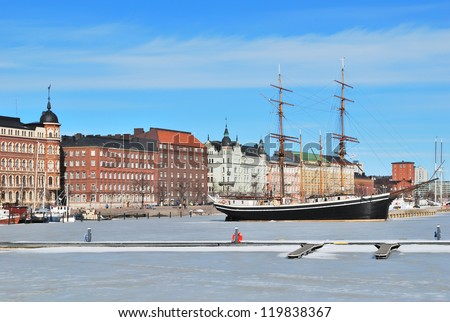 Helsinki, Finland. North harbor in a sunny winter day