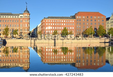 HELSINKI, FINLAND - SEPT 26, 2015:North Quay is located in center and runs along northern harbor. On waterfront there are houses built in different architectural styles in different historical periods