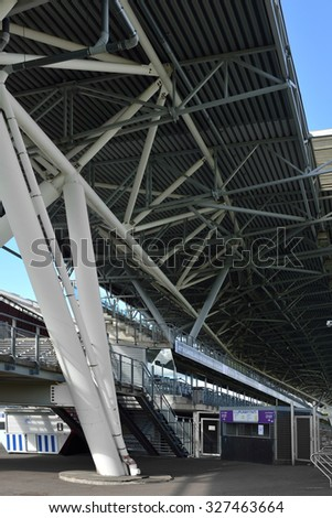 HELSINKI, FINLAND - SEPT 27,2015:Sonera Stadium is modern and versatile football stadium next to Helsinki Ice Hall and Olympic Stadium. It was inaugurated in 2000 and has capacity of 10,770 spectators