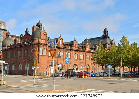 HELSINKI, FINLAND - SEPTEMBER 25, 2015: Former customs and warehouse next to Katajanokka terminal was built in 1900 by architect Gustaf Nystrom. It is fine examples of Jugendstil architecture