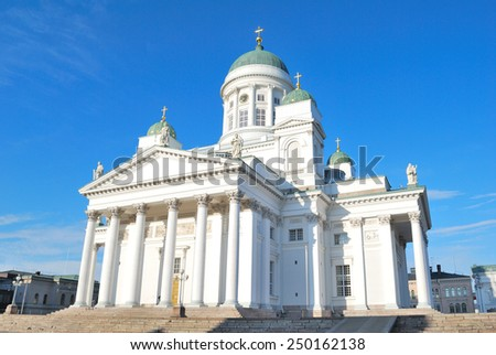 Helsinki, Finland. Very beautiful snow-white Lutheran Cathedral