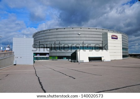 HELSINKI - JULY 20 : Hartwall Arena in Helsinki, Finland on May 20, 2010, is a large multifunctional indoor arena. It is the home venue of the ice hockey team Jokerit and has a capacity of 13506