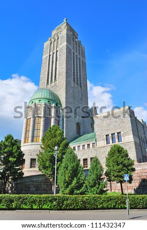 Helsinki. Kallio  Lutheran Church -  one of the highest buildings in the capital of Finland