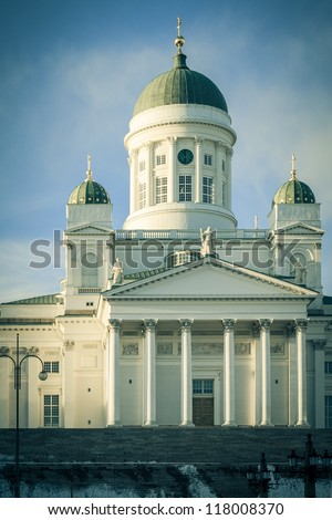 Helsinki Lutheran Cathedral on evening - stock photo