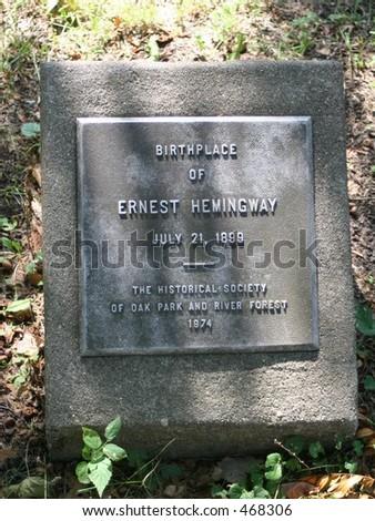 Hemingway Birthplace Marker Oak Oark Illinois - stock photo