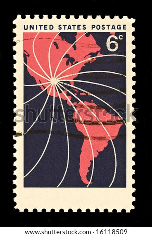 Hemisphere   Postal Stamp was issued in 1968 depicting North and South America