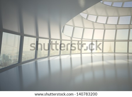 hemispheric office building hall and city in window - stock photo