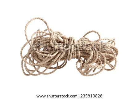 Hemp rope hemp rope on a white background - stock photo
