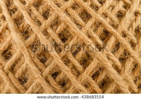 hemp rope roll details close up - stock photo