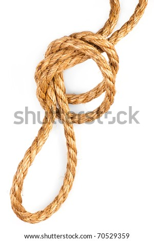 Hemp rope with knot and loop on white background