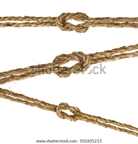 Hemp ropes with knot isolated on white background