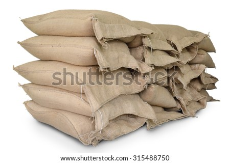 Hemp sacks containing rice isolate on white background - stock photo