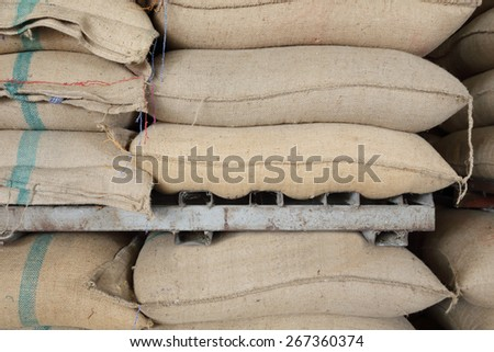 hemp sacks containing rice ready for sale