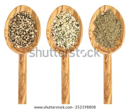 hemp seed, hearts and protein powder on isolated wooden spoons - stock photo