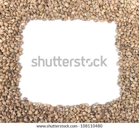 Hemp seeds frame on a white background - stock photo