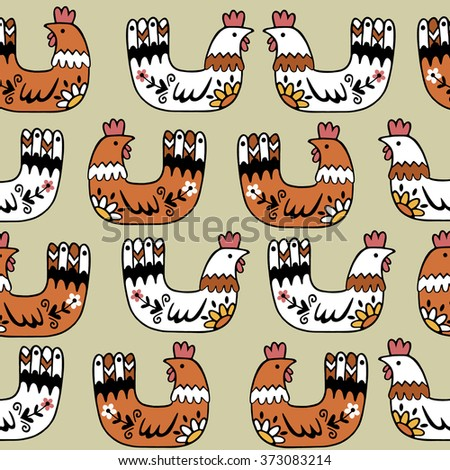 Hen art background design for fabric and decor. Seamless pattern