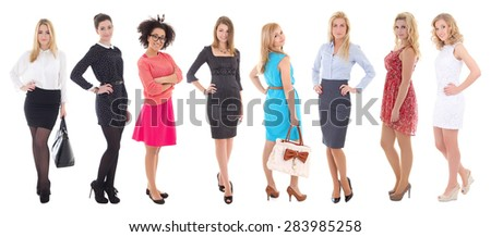 hen-party concept - beautiful women in dresses posing isolated on white background - stock photo