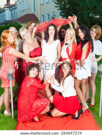 Hen party in red and white style - stock photo