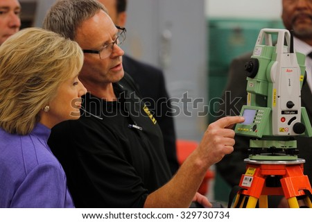 HENDERSON, NV - OCTOBER 14, 2015: Democratic U.S. presidential candidate & former Secretary State Hillary Clinton appears at International Union of Painters and Allied Trades (IUPAT) training center
