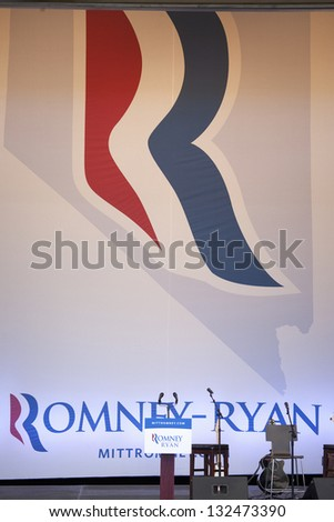 HENDERSON, NV - OCTOBER 23: Empty stage with microphones for Governor Mitt Romney at the 2012 Republican Presidential Candidate ON October 23, 2012 in Henderson Pavilion, Henderson, Nevada. - stock photo