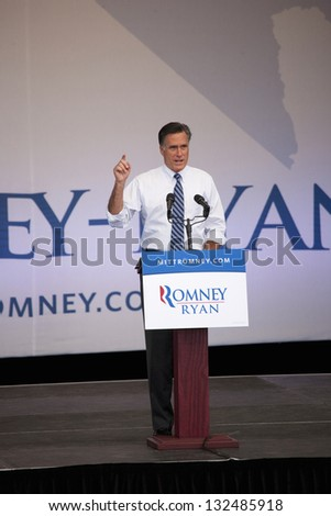 HENDERSON, NV - OCTOBER 23: Governor Mitt Romney speaks at Presidential campaign rally at Henderson Pavilion on October 23, 2012 in Henderson, Nevada - stock photo