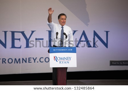 HENDERSON, NV - OCTOBER 23: Mitt Romney speaks at Presidential campaign rally at Henderson Pavilion on October 23, 2012 in Henderson, Nevada - stock photo