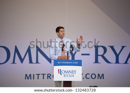 HENDERSON, NV - OCTOBER 23:  Paul Ryan Republican Candidate for Vice President, campaigns for Mitt Romney at Henderson Pavilion on October 23, 2012 in Henderson, Nevada. - stock photo