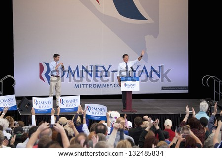 HENDERSON, NV - OCTOBER 23: Republican Presidential campaign rally with Mitt Romney and Paul Ryan at Henderson Pavilion on October 23, 2012 in Henderson, Nevada - stock photo