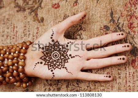 Henna Art On Woman39s Hand  Stock Photo