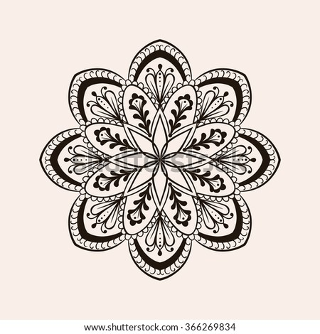 Henna ethnic mandala, boho tattoo design in doodle style. Ornamental tribal patterned illustration for adult anti stress coloring pages. Hand drawn zentangle sketch isolated on background.
