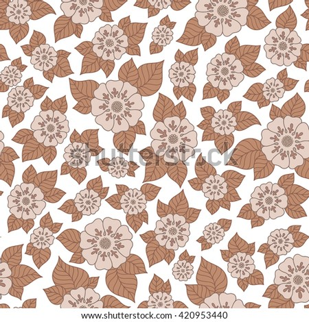 Henna MehendyTattoo Doodles Seamless Pattern. Floral retro background pattern in raster. Henna paisley mehndi doodles design. - stock photo