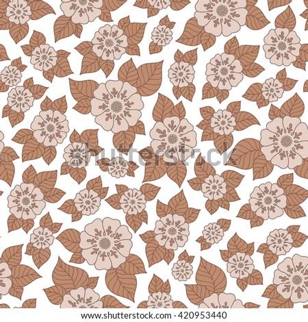 Henna MehendyTattoo Doodles Seamless Pattern. Floral retro background pattern in raster. Henna paisley mehndi doodles design. - stock photo