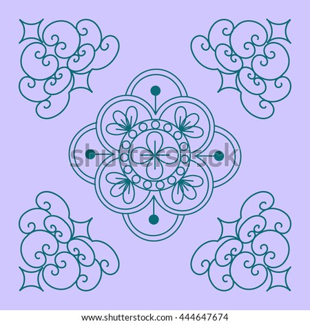 Henna Mehndi Doodles Abstract Floral Paisley Design Elements, Mandala, and Page Corner Design - stock photo